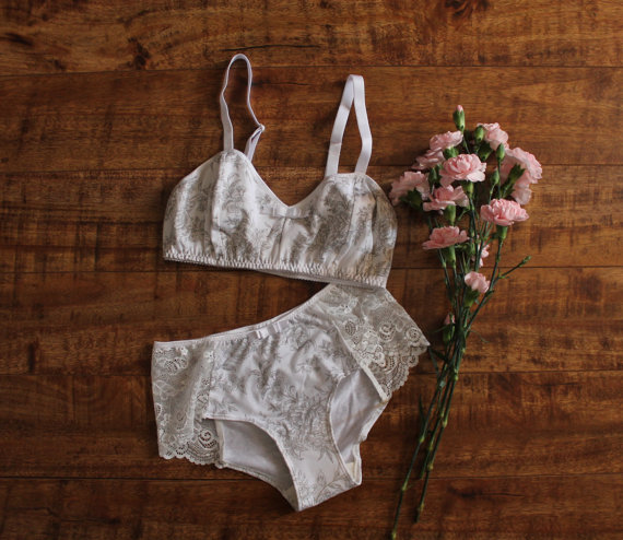 fe76f4c5e1 Floral Lingerie Set  Genevieve  White Floral Toile Bra and Hipster Panties  Handmade to Order