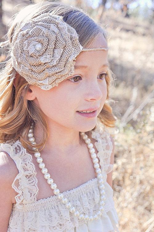 Hochzeit - Burlap Tie Back Headband-Country Wedding-Rustic Wedding-Flower Girl Headband-Flower Girl-Rustic Headband-Burlap-Lace-Burlap Tie Back