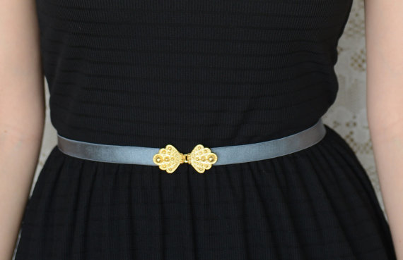 Mariage - Vintage - Style Gray Waist Belt - Gold Buckle - Gray Belt - Wedding Accessory - Bridesmaids Belt - Stretch Belt - Sash Belt