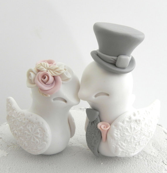 Lovebirds Wedding Cake Topper White Dusty Pink And Grey Bride And