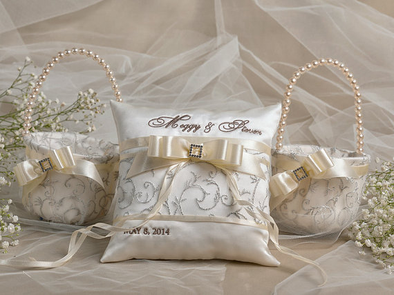 Flower Girl Basket Ring Bearer Pillow Set 2 Bowl And Lace Embriodery Names