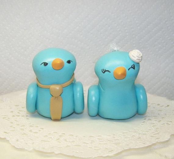 Hochzeit - Bird Wedding Cake Topper Birds Light Teal and Champagne- Fully Customizable