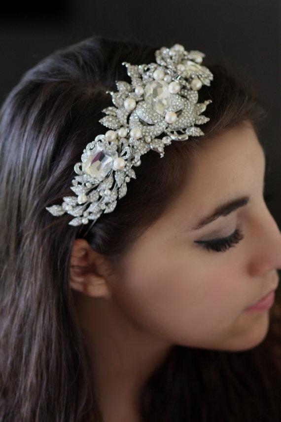 Hochzeit - Bridal Headband, Hair Accessories, Wedding Head band, Swarovski tiara, pearl headband, Crystal headband