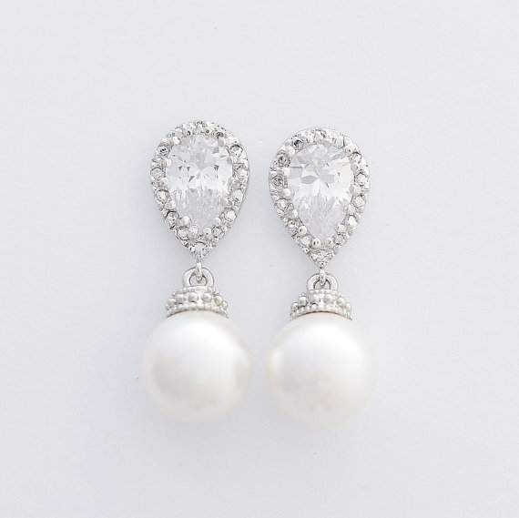 Wedding - Pearl Bridal Earrings Bridal Jewelry Cream OR White Ivory Pearl Cubic Zirconia Posts Silver with Swarovski Wedding Jewelry