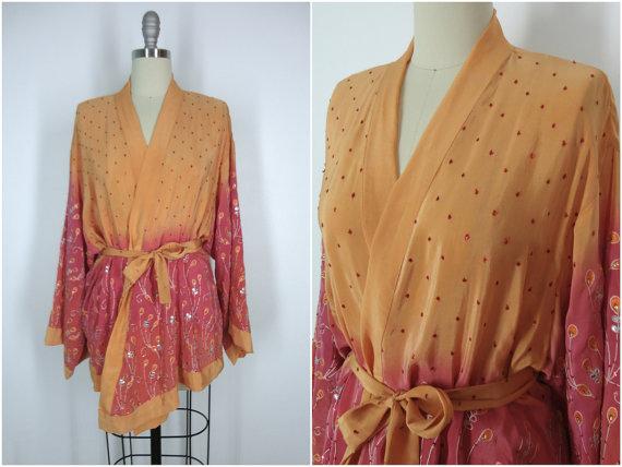 زفاف - Kimono / Silk Kimono Robe / Kimono Cardigan / Kimono Jacket / Wedding lingerie / Vintage Sari / Art Deco / Downton Abbey / Sequined Kimono