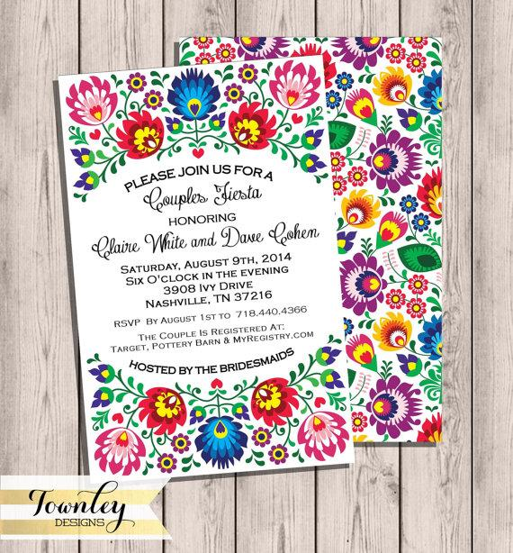 Hochzeit - Fiesta Couples Shower Invitation, 5x7, Bridal Shower, Engagement Party, Couples Shower, Fiesta, Folk, Digital