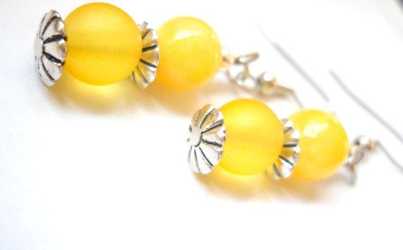 Wedding - Seaglass Sunflower Yellow Earrings, Bold Mustard Yellow Glass Beaded Jewelry, Silver and Yellow Bridal Wedding Beaded Earrings