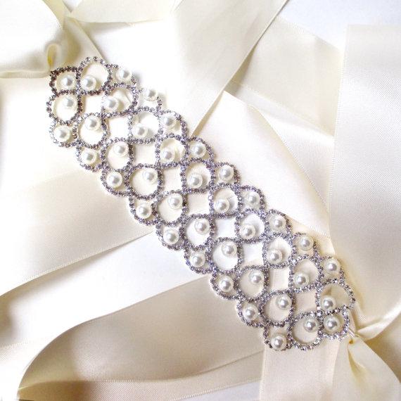Wedding - Luxurious Wide Pearl and Rhinestone Wedding Dress Sash - Silver Rhinestone Encrusted Bridal Belt Sash - Crystal Extra Wide Wedding Belt