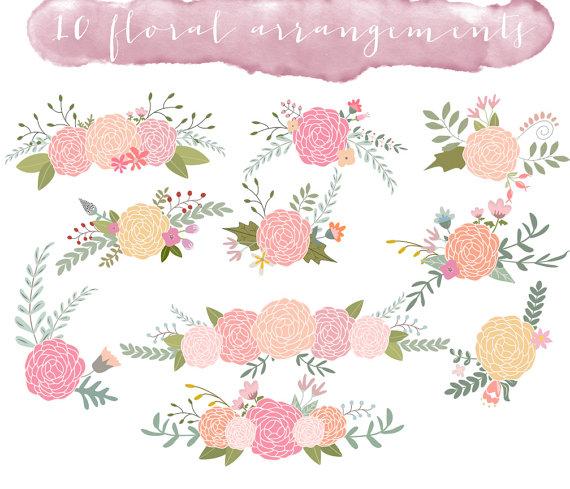 Flower wedding. Floral clip art clipart
