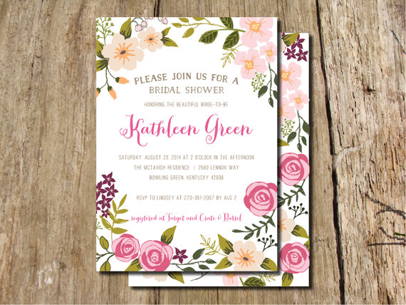 Garden party hand drawn floral frame bridal shower invitation garden party hand drawn floral frame bridal shower invitation filmwisefo
