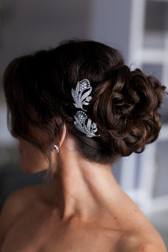 Свадьба - Bridal Hair Pin, Rhinestone Flower Headpiece, Wedding Accessory for Boho Vintage Gatsby Winery Garden Weddings