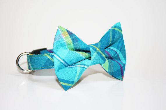 Свадьба - Madras Bow Tie Dog Collar- Plaid Bow Tie Dog Collar- Wedding Dog Collar- Blue Plaid