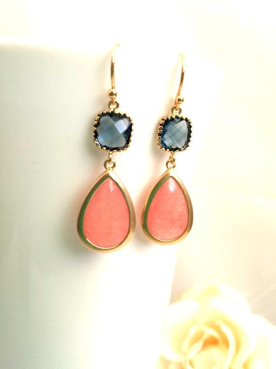 Hochzeit - Coral Earrings, Navy Gold Earrings, Coral Pink Wedding Earrings, Drop, Dangle Earrings,Bridal jewelry, Navy earrings, Bridesmaid Gift