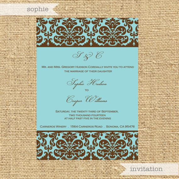 Wedding - Printable Personalized Invitation- Sophie Design