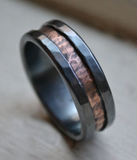 Wedding - rustic fine silver and copper ring - handmade artisan designed wedding or engagement band - customized