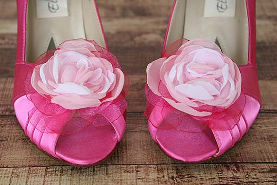 02bdaa5eea8 wedding shoes fuschia peep toe wedding shoes with pink ombre flower on toe  buttons on back