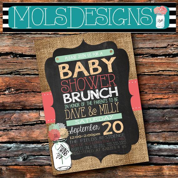 Any color baby shower brunch mason jar vintage burlap chalkboard any color baby shower brunch mason jar vintage burlap chalkboard twins girl boy coral mint peach teal floral wedding tea party invitation filmwisefo