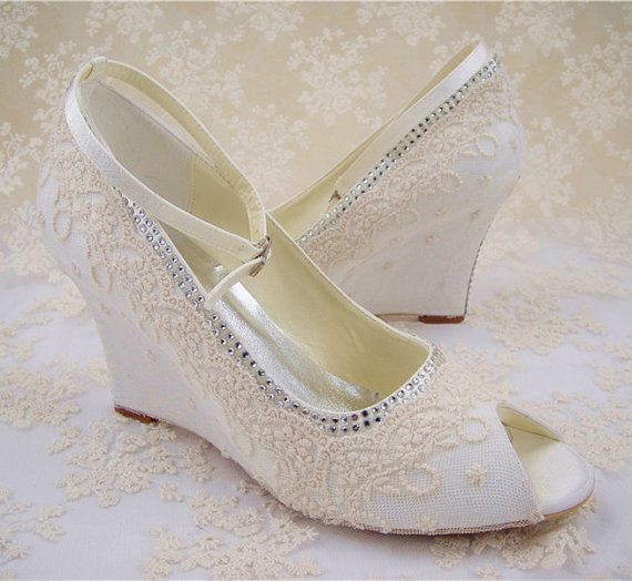 Lace Wedding Shoes Peep Toe Bridal Rhinestone Wedge Bridesmaid Champagne Floral Pattern Ivory