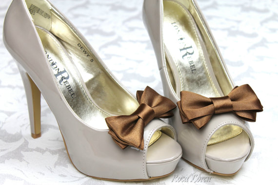 Mariage - Brown Shoe Clips, Chocolate Brown Bow Shoe Clip, Brown Wedding Accessories Shoes Clip, Brown Bow Clip Shoes