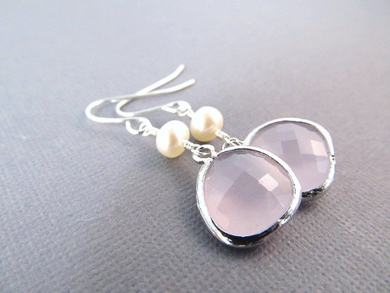 Wedding - Bridesmaid Earrings, Silver Glass Jewel and Freshwater Pearl Dangles, Wedding Jewelry, Your Choice of Color, Bridesmaid Gift