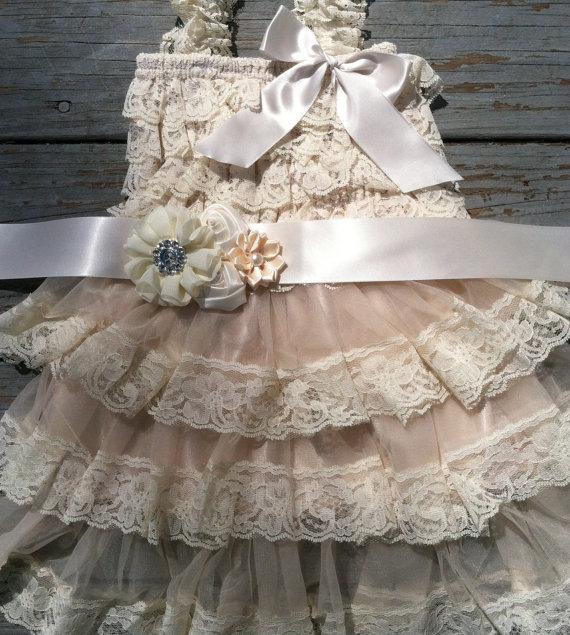 Wedding - Rustic Flower Girl Dress-Cream-Ivory-Wheat-Rustic Flower Girl Outfit/Wheat Cream Flower Girl- Shabby Chic Flower Girl-Country Wedding