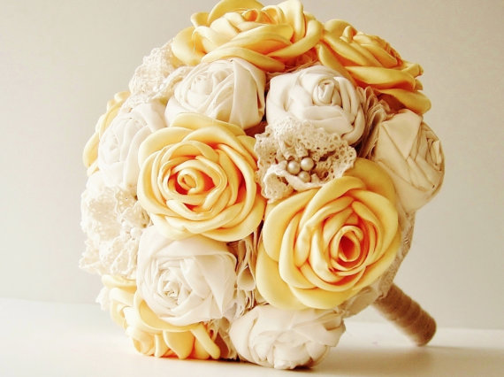 زفاف - Fabric Wedding Bouquet, Weddings, Vintage Bridal Bouquet, Fabric Flower Bouquet,  Wedding Bouquet,  Yellow Roses