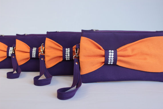 Свадьба - Promotional sale   - SET OF 9 Orange ,purple, Bow wristelt clutch,bridesmaid gift ,wedding gift ,make up bag