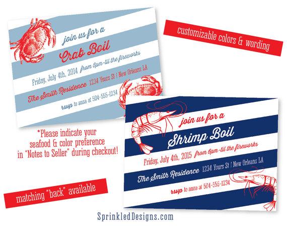 زفاف - Crab Shrimp Boil Party Invitation - Seafood Boil - Low Country Boil - Custom, Printable Party Invite