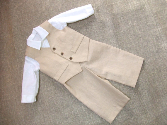 Mariage - Baby boy ring bearer outfit boy linen suit kids first birthday natural clothes rustic wedding beach family photos formal SET of 3 beige