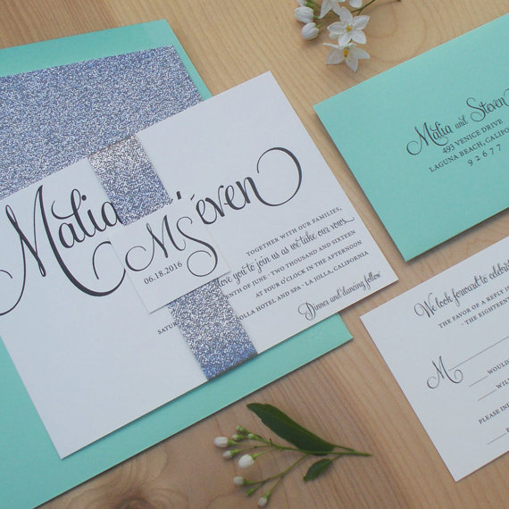 Mariage - Glitter Invitation, Silver and Mint Wedding Invitation, Modern Wedding Invitation, Belly Band