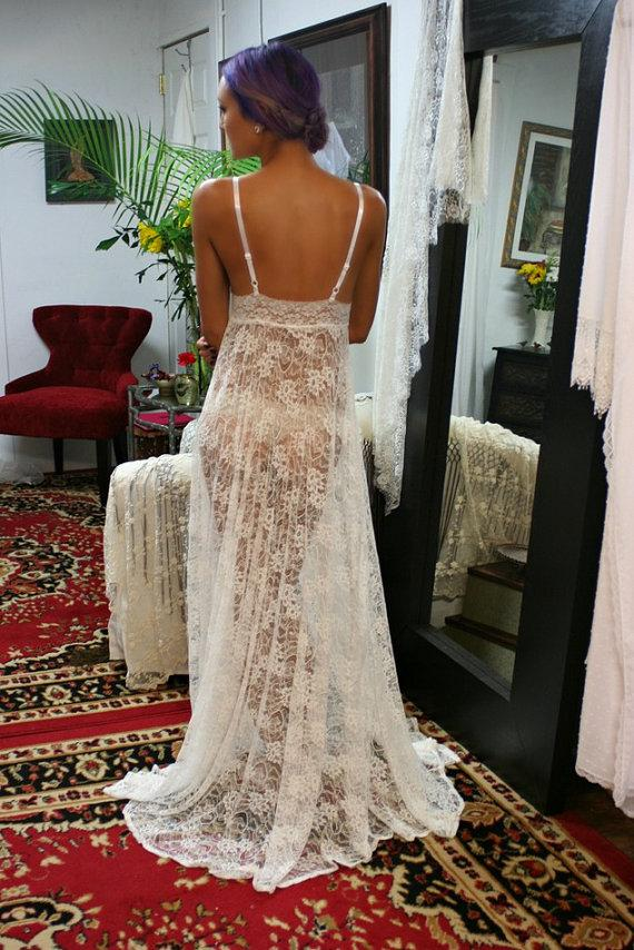 Sheer Lace Bridal Lingerie Nightgown Sleepwear Wedding Nightgown ...