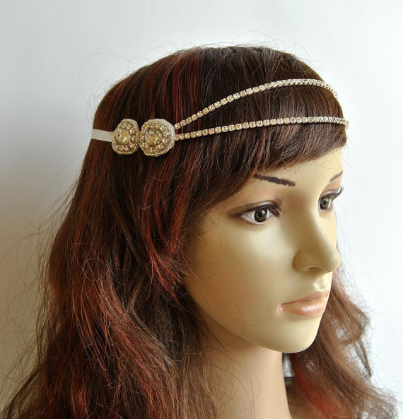 Wedding - Bridal Rhinestone Headband 1920s The Great Gatsby flapper Headpiece,Bridal 1920s crystal wedding headband headpiece, Rhinestone flapper