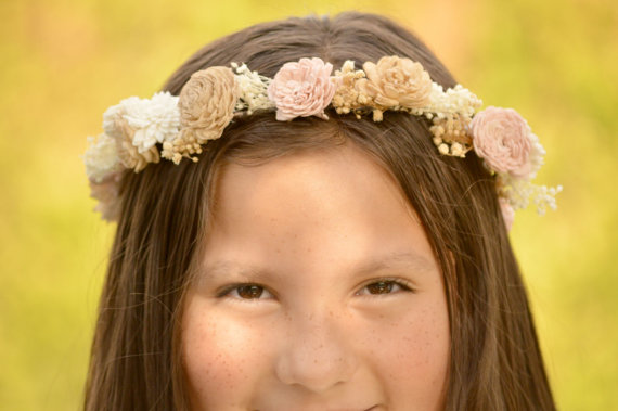 Wedding - Reserved for Kalita-Headband Crown in Ivory Dusty Blue, Grey, Tan and gold made of Sola and dried Flowers