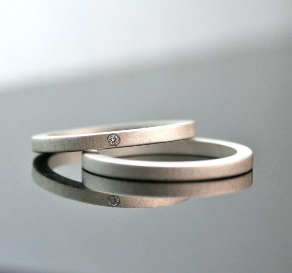 Wedding - One Tiny Diamond Ring Set - Simple Wedding Rings - Sterling Silver Engagement Ring Set - Matte Finish - Simple Diamond Ring - Modern - 2 mm