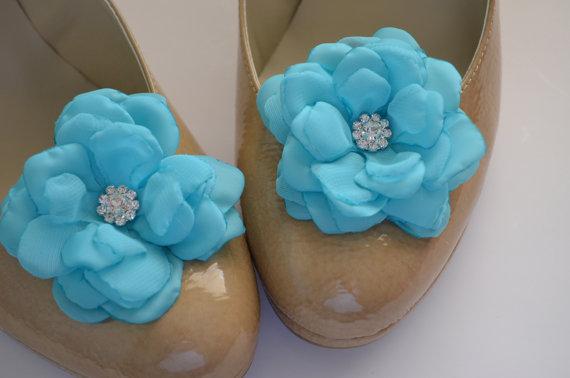 زفاف - Shoe Clips - Aqua Blue - Chiffon and Satin Flower