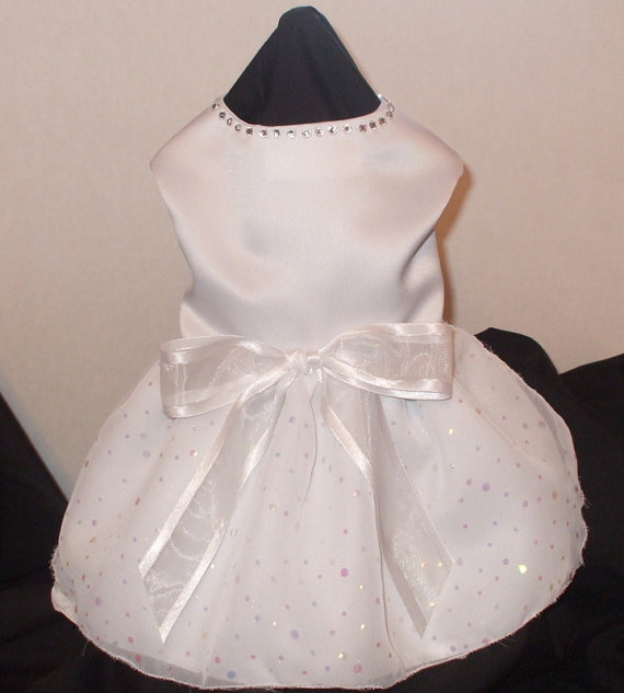 زفاف - Dog Wedding Dress, White Organza