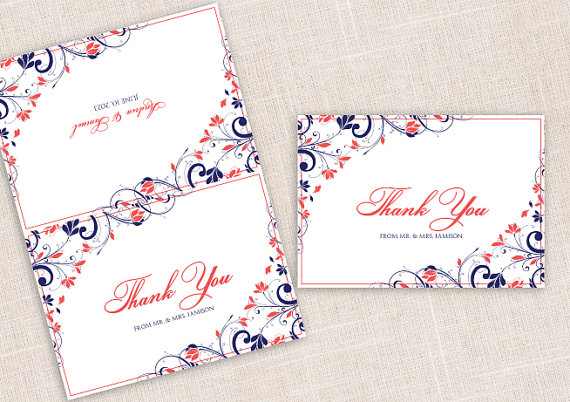 Mariage - Diy Wedding Thank You Foldover Cards - DOWNLOAD Instantly - EDITABLE TEXT - Chic Bouquet (Navy & Coral) 3.5 x 5 - Microsoft Word Format