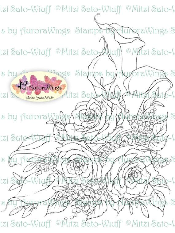 Mariage - Digital Stamp Instant Download - Calla Lily and Rose - Sympathy or Wedding Bouquet - Floral Line Art for Cards & Crafts by Mitzi Sato-Wiuff