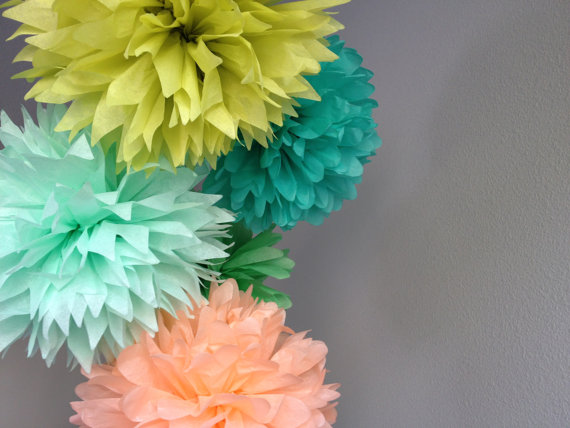 Choose your colors sale 5 tissue pom pom peach mint apple choose your colors sale 5 tissue pom pom peach mint apple green cockatoo wedding decoration party diy decor kit junglespirit Image collections