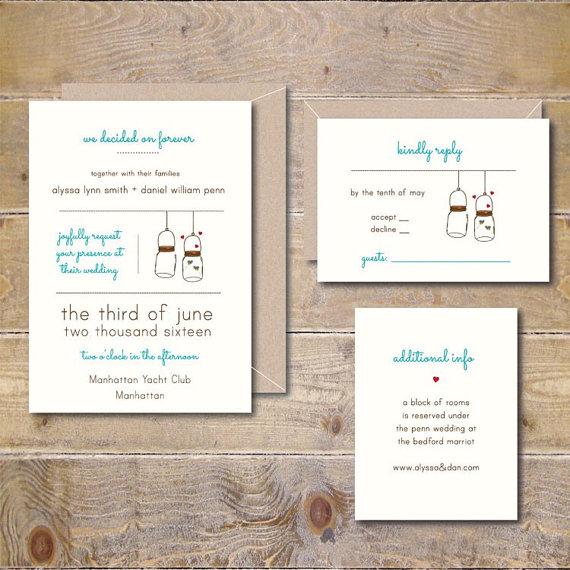 Outdoor Weddings. Mason Jars. Wedding Invitations . Wedding Invitation .  Rustic Wedding Invitations   Mason Jar
