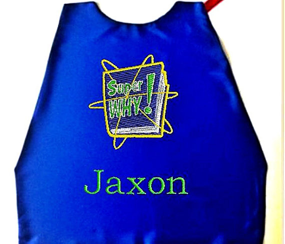 Hochzeit - Superhero Kid's Cape,  Embroidered Super Why Personalized with Name Royal Blue