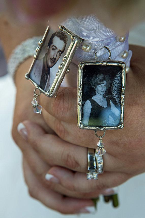 Mariage - 1 Bridal Bouquet Memorial Charm, Photo Wedding Charm