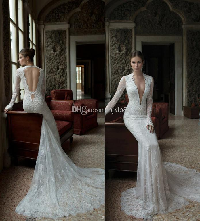 Sexy deep v neck lace backless mermaid berta bridal long for Lace sleeve backless wedding dress