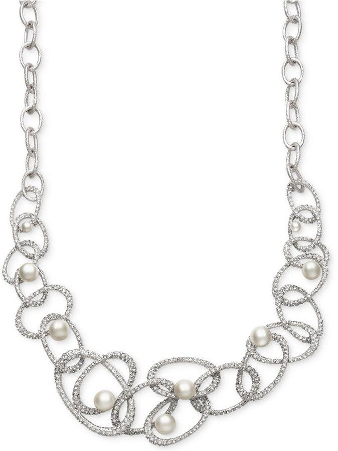 Wedding - Belle de Mer Bridal Cultured Freshwater Pearl (5-10mm) and Crystal Linked Frontal Necklace in Silver Plated Brass