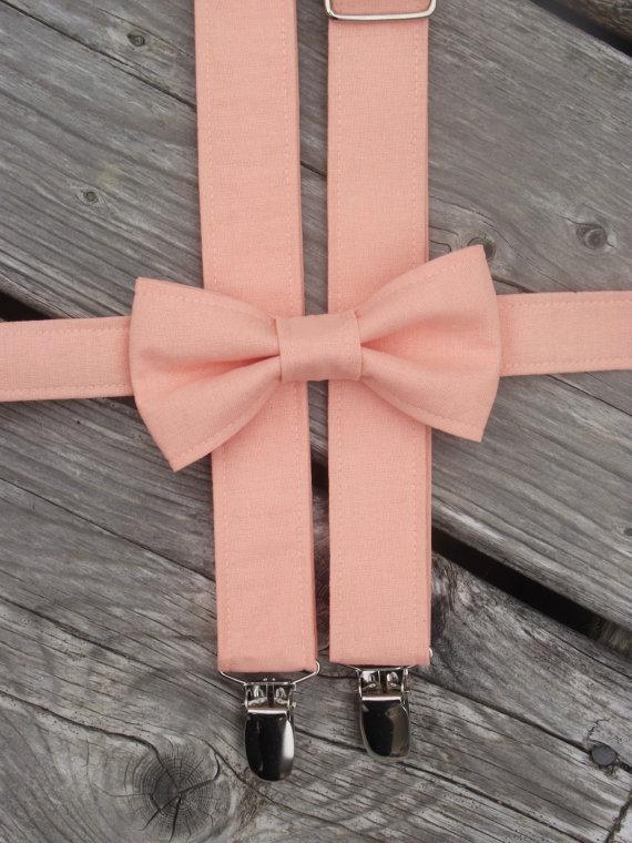 Peach Bow Tie And Suspenders Peach Suspenders Toddler Suspenders