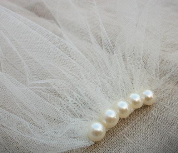 زفاف - Ivory Tulle Birdcage Veil, Vintage Style Petite Veil  Mini Blusher Illusion Tulle  Veil