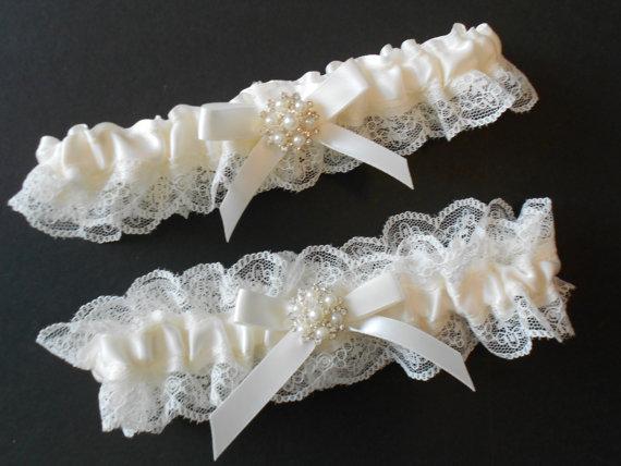 Wedding - Wedding Garter Vintage Inspired Light IVORY-Pink-BLUE Satin IVORY Lingerie Lace Trim Garter set.