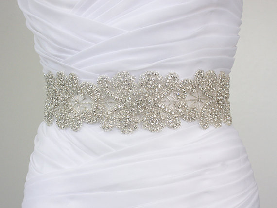 Isabel vintage inspired flower crystal rhinestone bridal for Sparkly belt for wedding dress