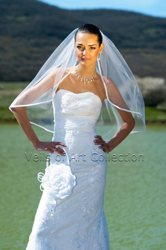 """Свадьба - 1T Elbow Bridal Wedding Veil 3/8"""" Satin Trim VE201 white or  ivory"""