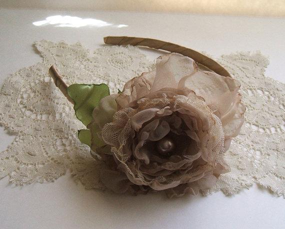 Wedding - Rose Headband Handmade Champagne Chiffon, Thin Band, Evening, Wedding, Bridal, Headpiece, Flower Girl
